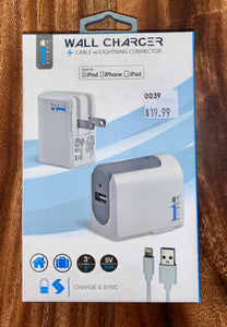 i1 Mobile | Lighting Wall Charger - White