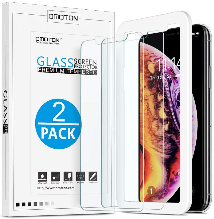 OMOTON | Apple iPhone Xs & iPhone X Screen Protector [2 Pack]