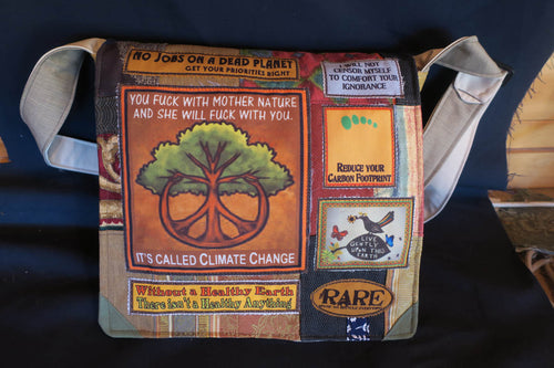 Climate Change Bag. Handmade from recycled materials.