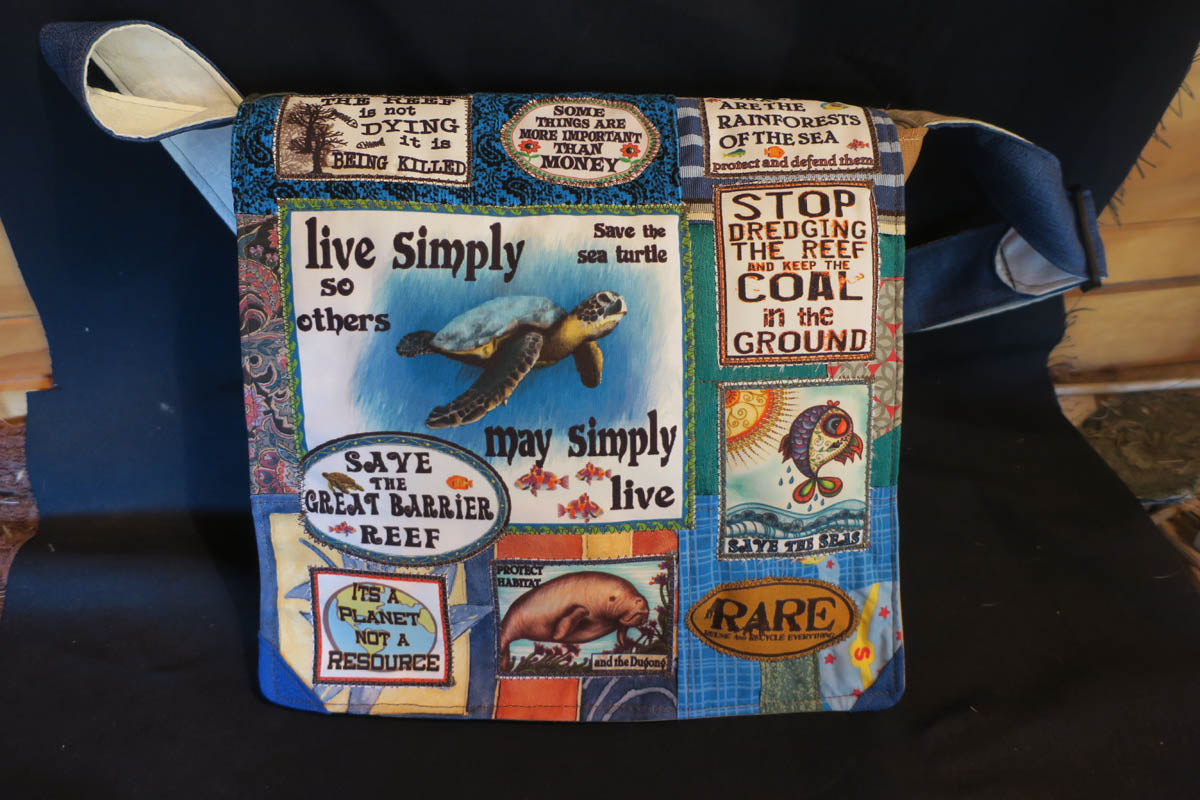 Save the Great Barrier Reef Bag. Handmade from recycled materials.