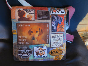 For the Love of Dogs Bag. Handmade from recycled materials.