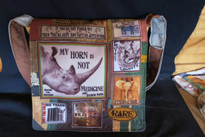 Rhino Elephant Bag. Handmade from recycled materials.