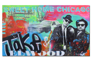 Blues Brothers painting. Original Chicago street art by Gino Savarino. Modern pop art for sale