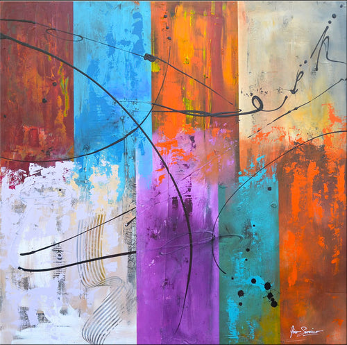 Modern abstract art original painting Gino Savarino Chicago artist