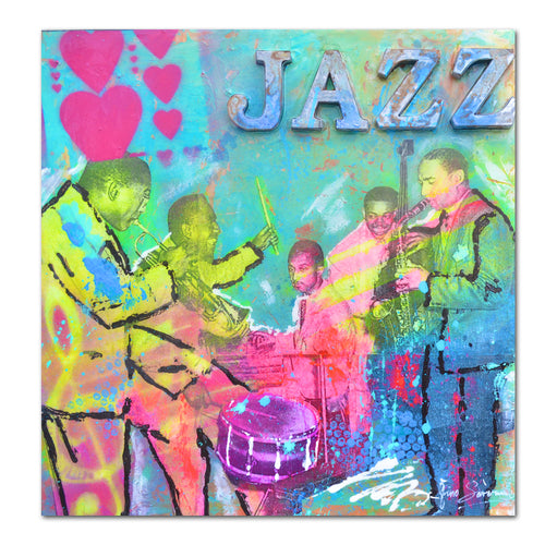 Chicago Jazz music pop art original modern abstract painting