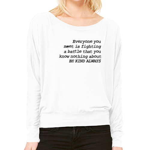 Be Kind Always - Off the Shoulder Long Sleeve Tee