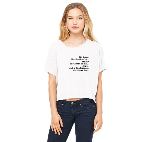 Heart of an Angel - Flowy Boxy Off Shoulder Crop Tee