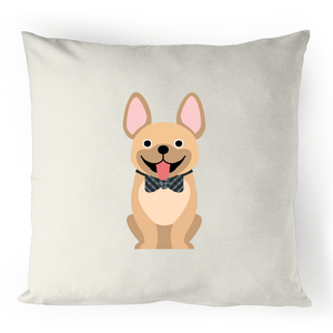 Tan Fancy Frenchie- 100% Linen Cushion Cover