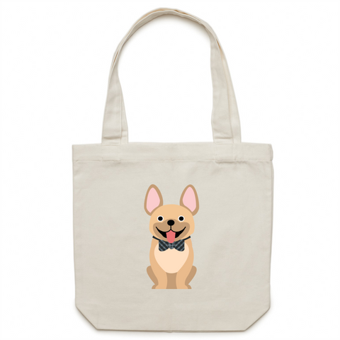 Tan Fancy Frenchie- Canvas Tote Bag