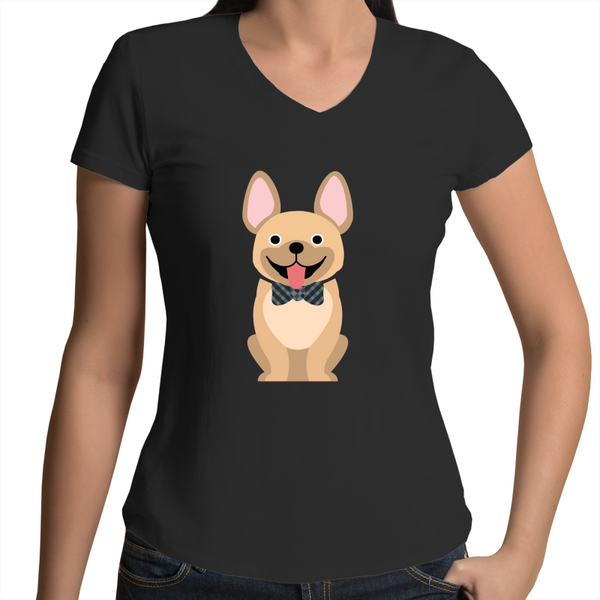 Tan Fancy Frenchie - Womens V-Neck Tee