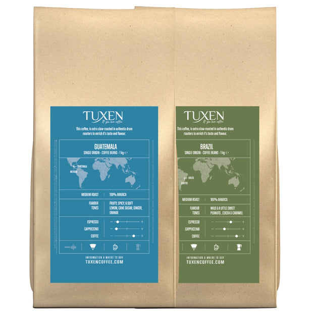 Tuxen Single Origin Mix kaffepakke (2 x 1000g)