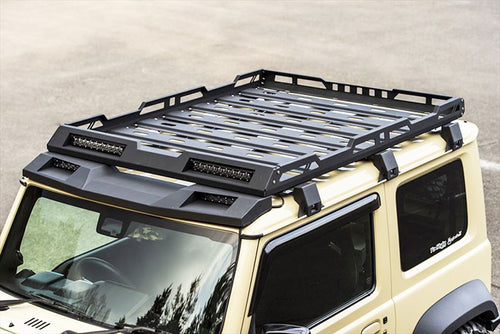 Aluminum Roof Rack Cargo Basket with 4 LED Light hole for Suzuki Jimny JB64 JB74 2018-2019