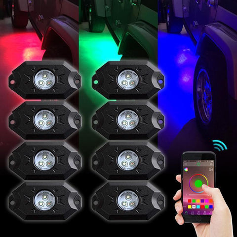 Bluetooth Shift RGB LED Rock Lights 1987-2020 Jeep Rock Lights