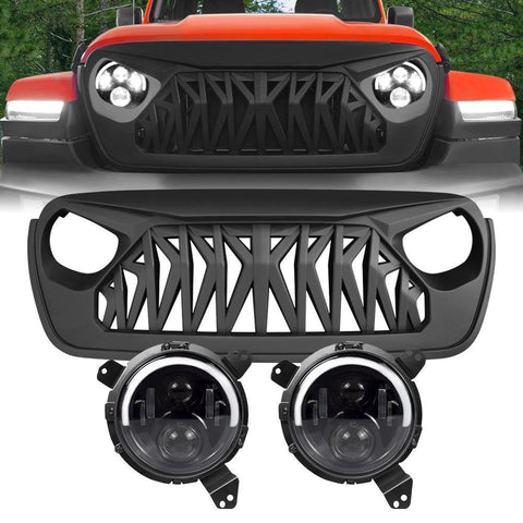 Half Halo Headlights Shark Grille Combo Pack 2018-2020 Wrangler JL