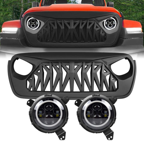 Halo Headlights Shark Grille Combo Pack Wrangler JL 2018-2020