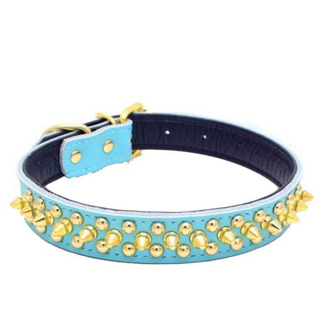 Genuine Leather Gold Rivet Pet Collar