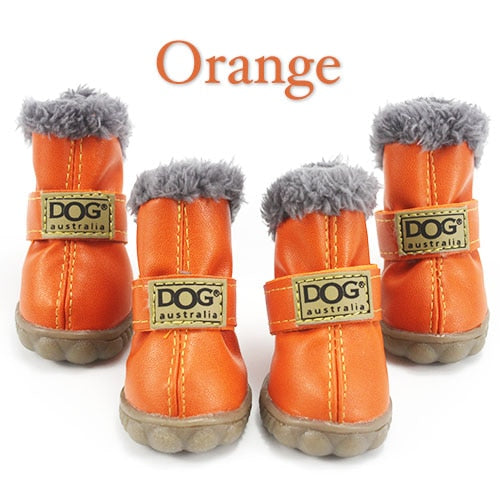Winter Dog Boots Waterproof Fur 4Pcs