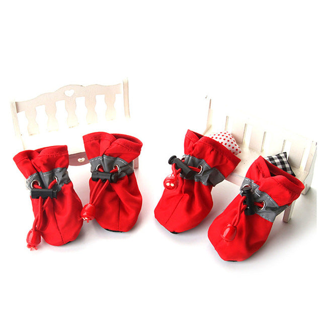 4pcs Nylon Cotton Pet Dog Shoes