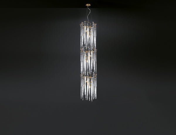 Waterfall Cylindrical 3-Tier Chandelier