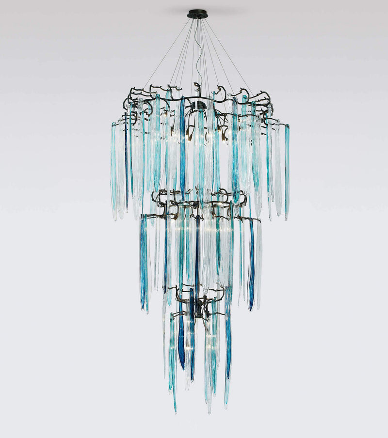 Waterfall Staircase 3-Tier Chandelier