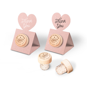 Custom Wine Cork Stopper with Heart Pop-up Card - Cheers