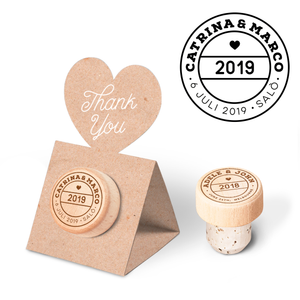 Custom Wine Cork Stopper with Heart Pop-up Card - Stamp
