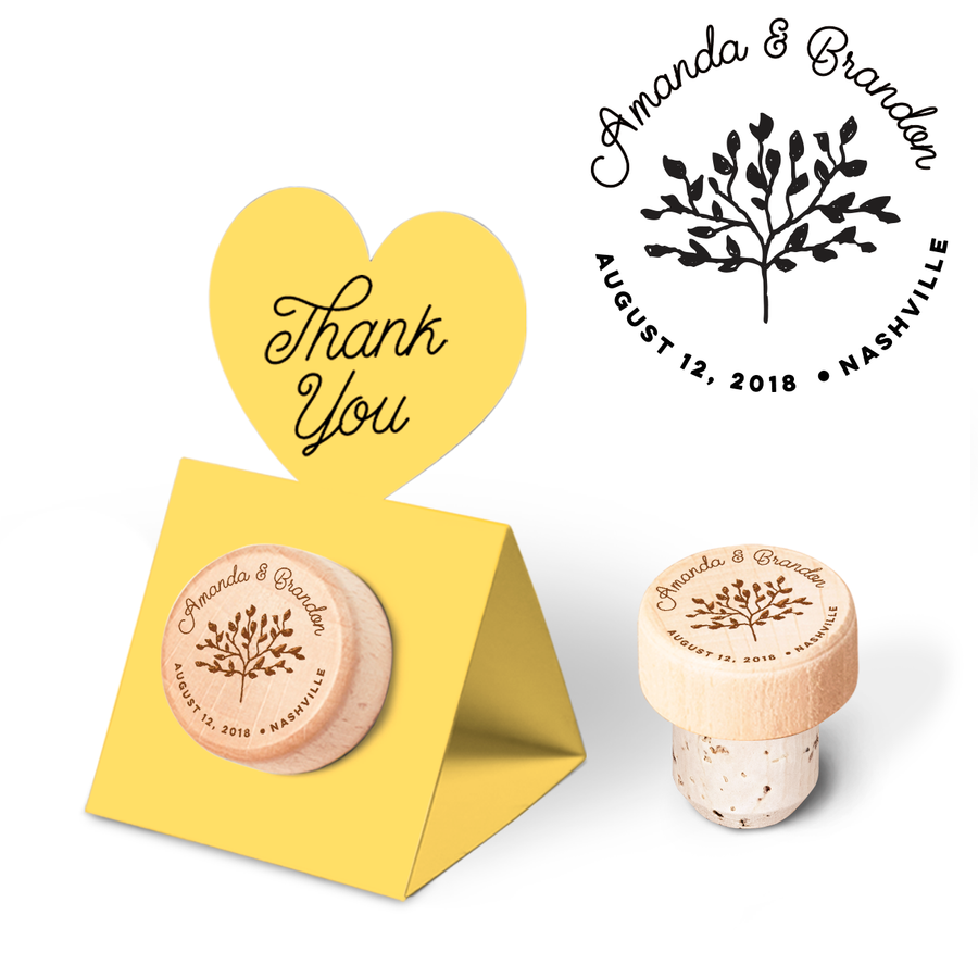 Custom Wine Cork Stopper with Heart Pop-up Card - Tree