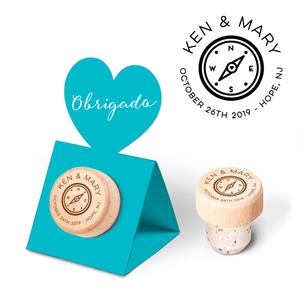 Custom Wine Cork Stopper with Heart Pop-up Card - Compass