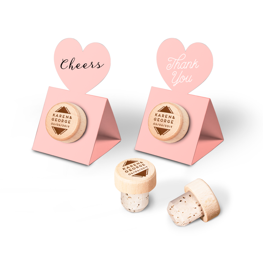 Custom Wine Cork Stopper with Heart Pop-up Card - Mountain Design