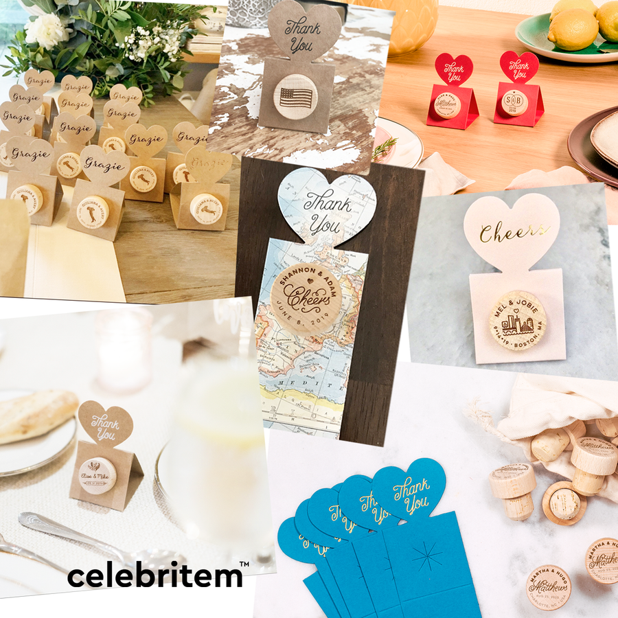 Custom Wine Cork Stopper with Circle Pop-up Card - Heart Design