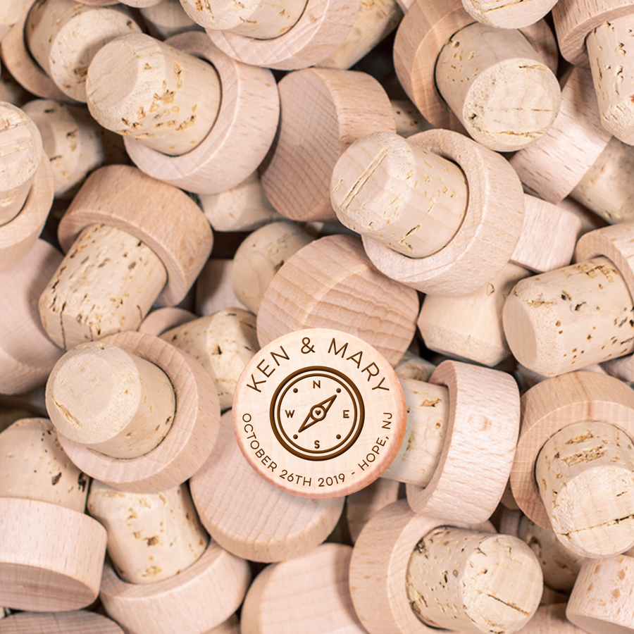 Custom Wine Cork Stopper - Heart Compass