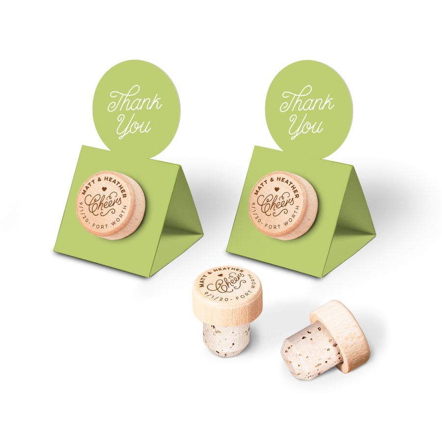 Custom Wine Cork Stopper with Circle Pop-up Card - Cheers
