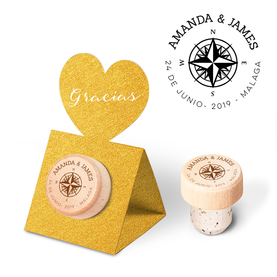Custom Wine Cork Stopper with Heart Pop-up Card - Compass Rose