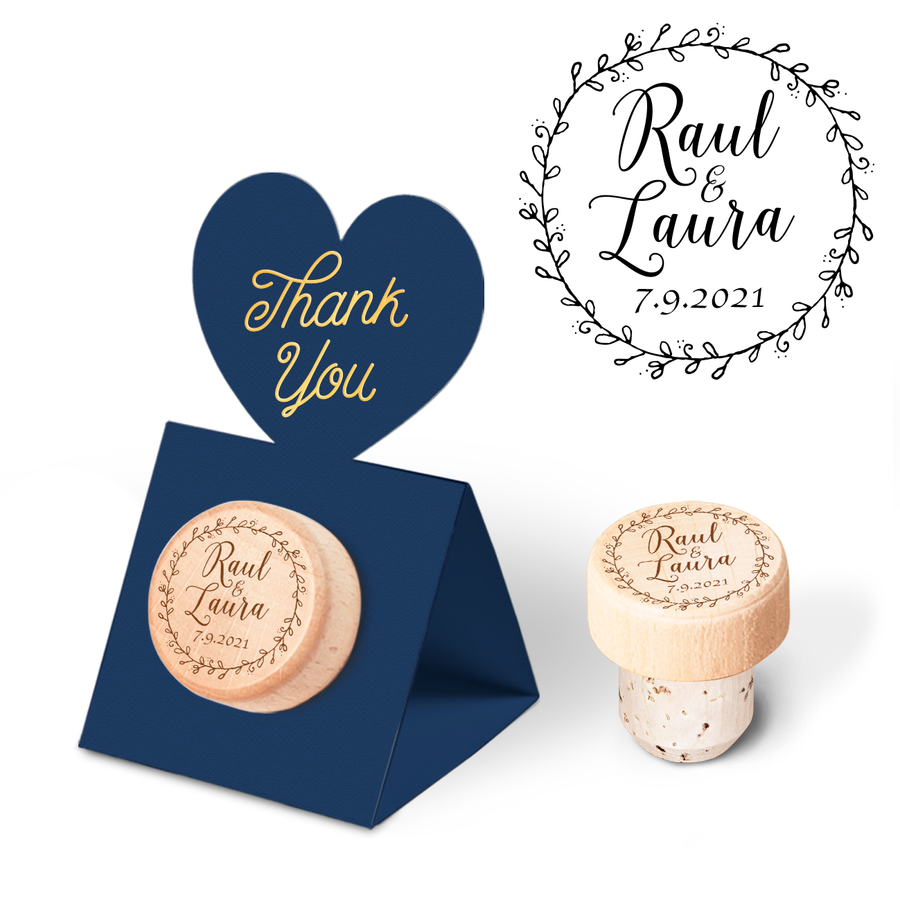 Custom Wine Cork Stopper with Heart Pop-up Card - Floral