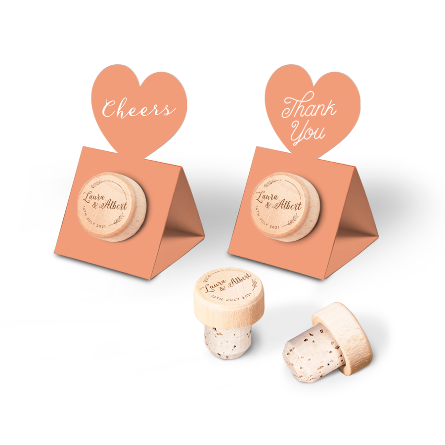 Custom Wine Cork Stopper with Heart Pop-up Card - Spike Design