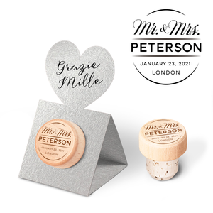 Custom Wine Cork Stopper with Heart Pop-up Card - Mr. & Mrs. Design