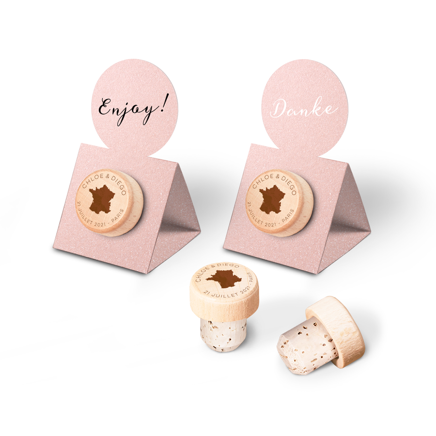 Custom Wine Cork Stopper with Circle Pop-up Card - Countries Design