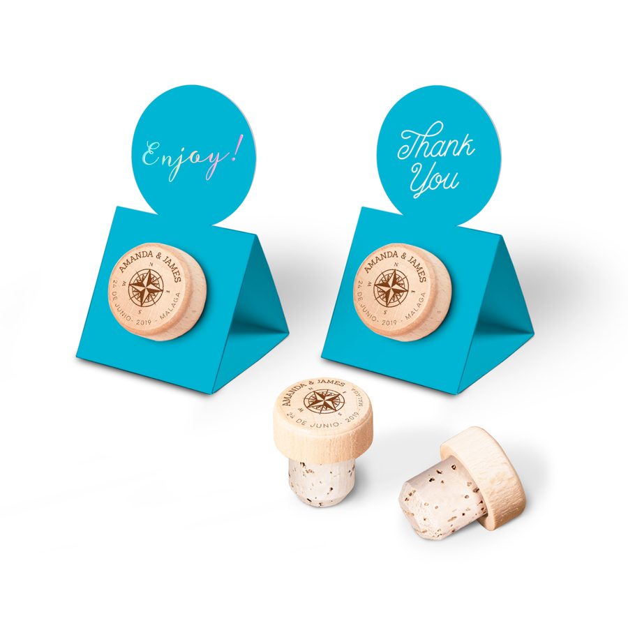 Custom Wine Cork Stopper with Circle Pop-up Card - Compass Rose