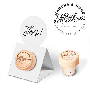 Custom Wine Cork Stopper with Circle Pop-up Card - Surname