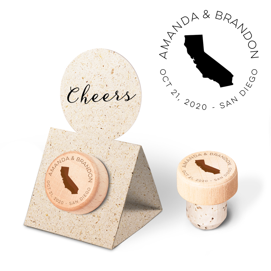Custom Wine Cork Stopper with Circle Pop-up Card - States of United States of America