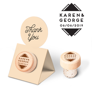 Custom Wine Cork Stopper with Circle Pop-up Card - Mountain Design