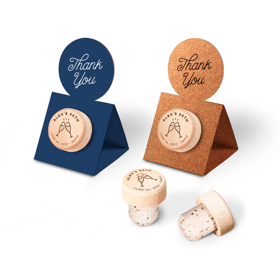 Custom Wine Cork Stopper with Circle Pop-up Card - Glass