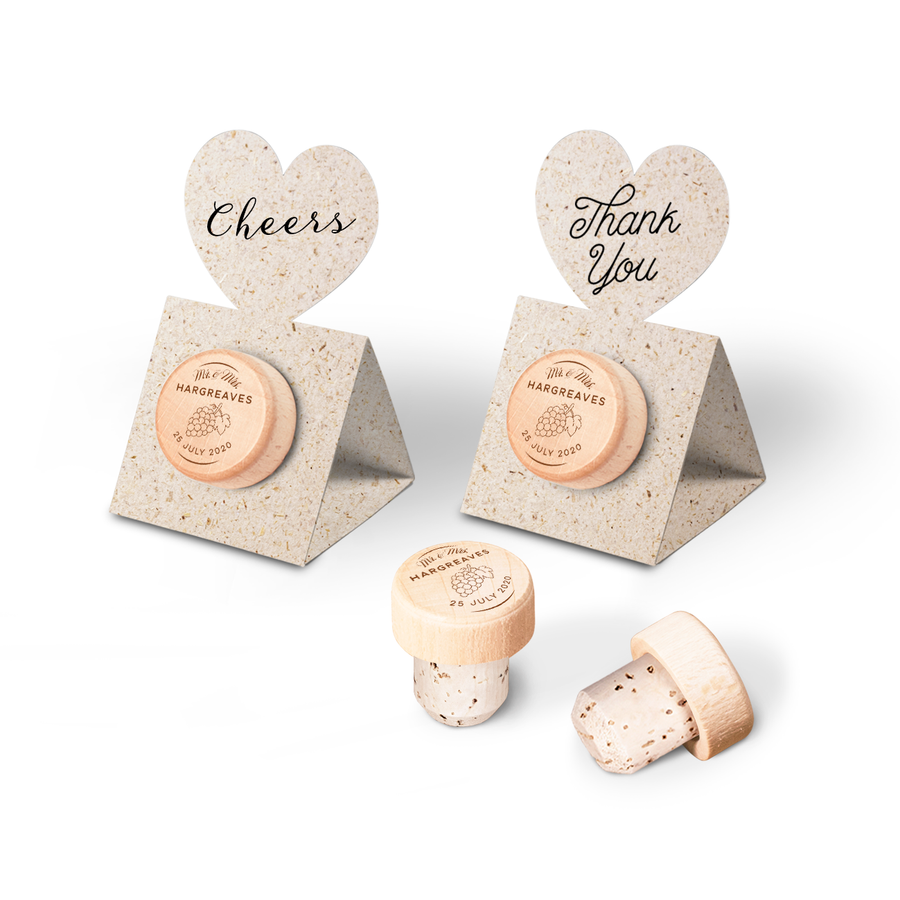 Custom Wine Cork Stopper with Heart Pop-up Card - Grapes