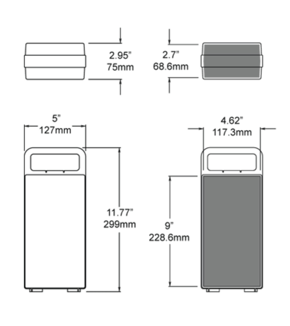 Dimensions of the 601 Clickcase Hard Case