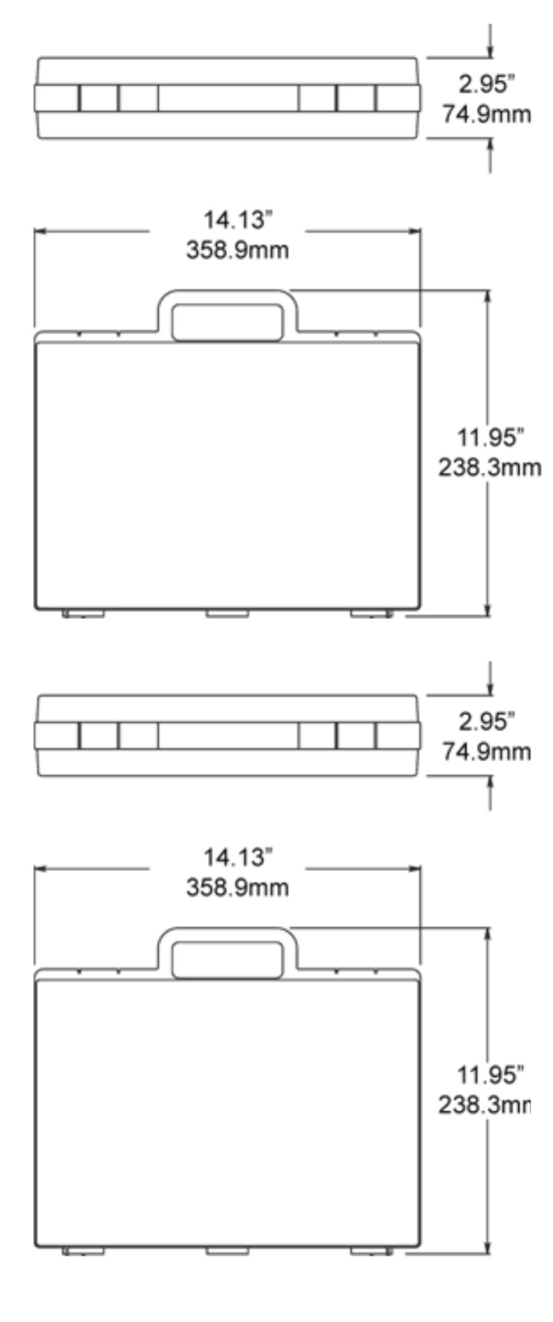 Dimensions of the 610 Clikcase Hard Case