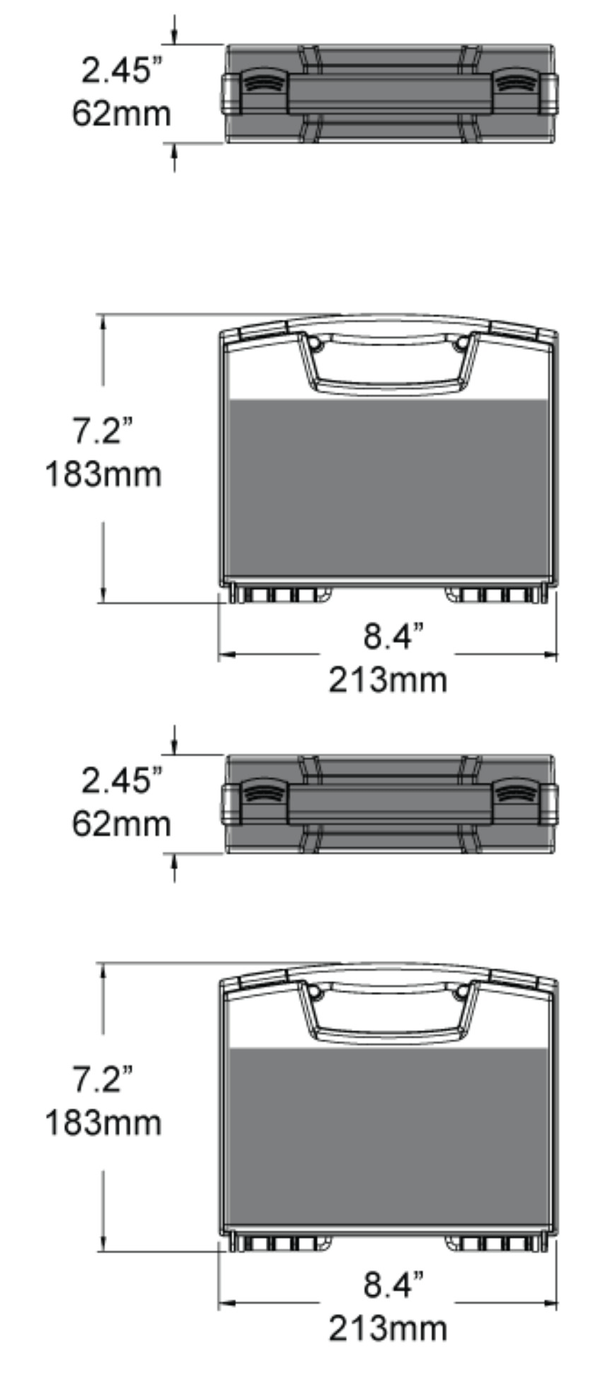 Dimensions of the 643 Micro-Kitcase Hard Case