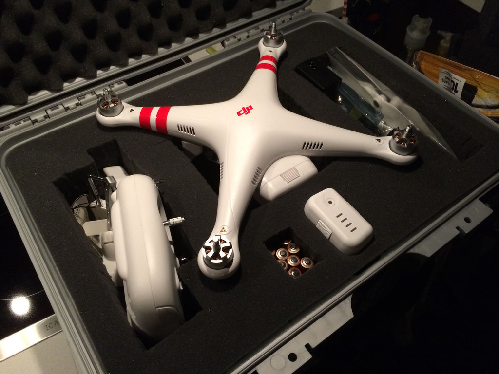 DJI Phantom in Pick and Pluck Foam. Custom foam done in 5 minutes.