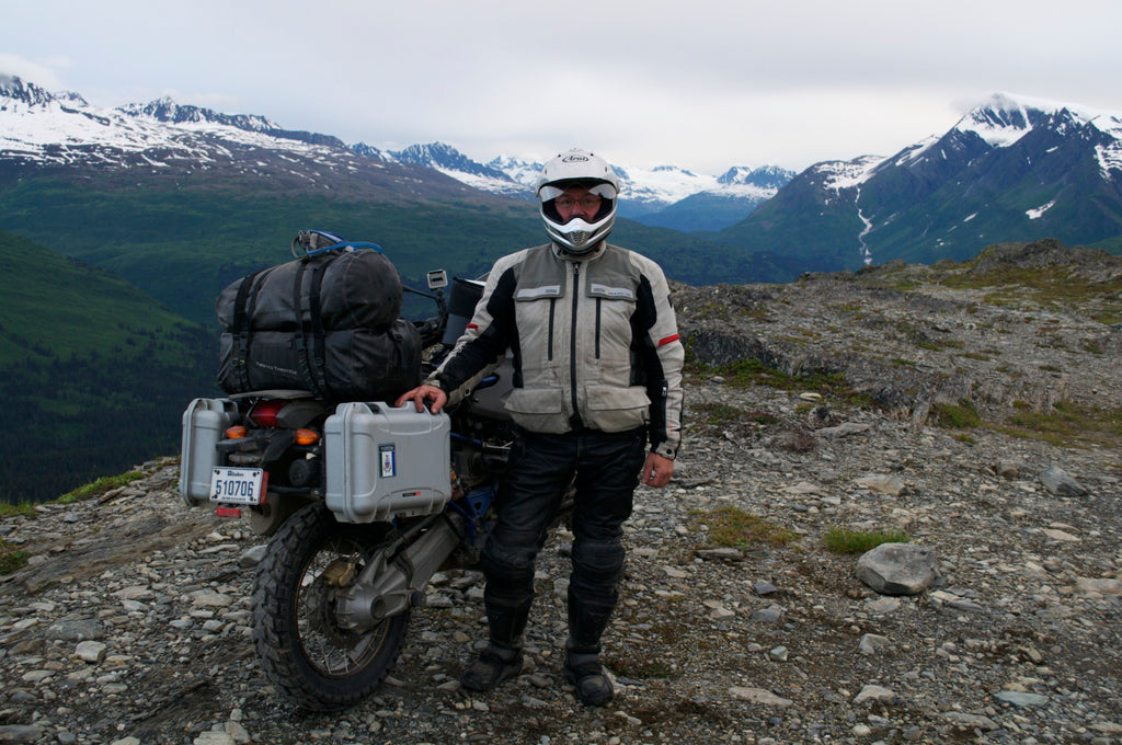 Guy Coallier in Alaska with his BMW Motorcycle and Nanuk Cases