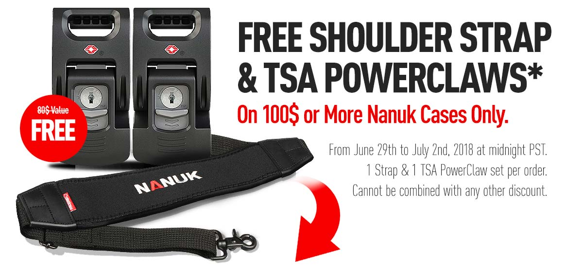 FREE SHOULDER STRAP & TSA POWERCLAWS *On 100$ or More Nanuk Cases Only.
