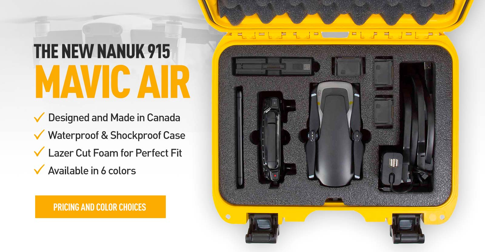 Nanuk 915 Hard Case for the Mavic Air in Yellow